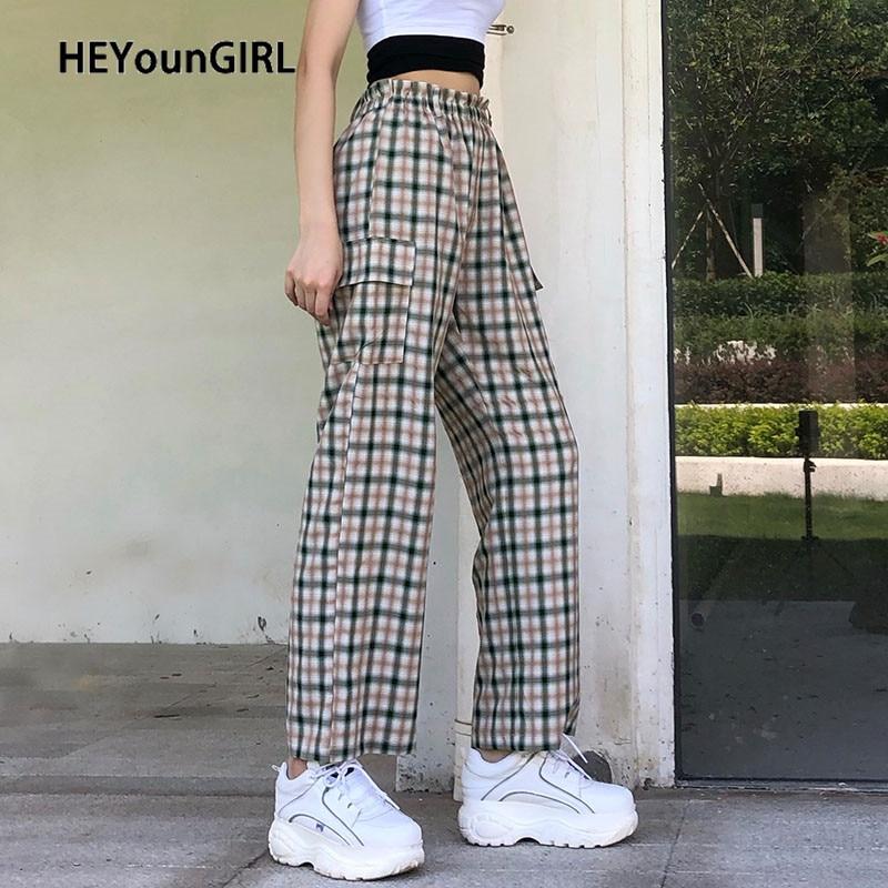 HEYounGIRL Checkered Casual High Waist Pants Capris Plaid Long Trousers Ladies Fashion Summer Sweatpants Pocket Streetwear 2020