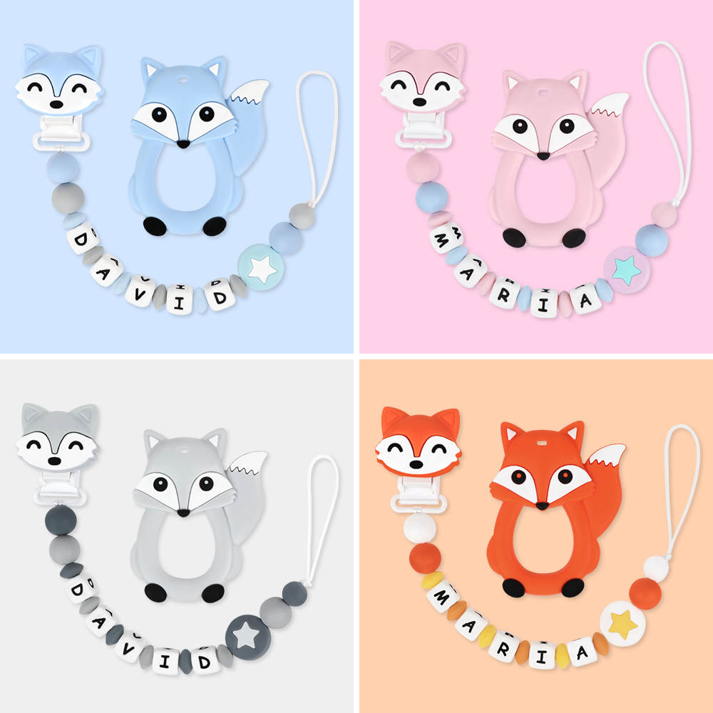 TYRY.HU Personalized Name Handmade Pacifier Clips Holder Chain Silicone Pacifier Chains Carton Baby Teether Teething Chain