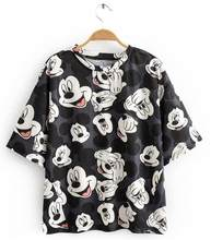 Donne Maglietta di Mickey Tee Short-manicotto Del Fumetto Del mouse Camicia Nera top Estate casual Femminile Magliette e camicette A129(China)