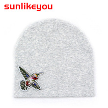 цены Sunlikeyou Baby Girls Boys Hat For Kids Newborn Caps Cotton Soft Birds Embroidered Toddler Beanie Bonnet Warm 0-3Y Baby Hats