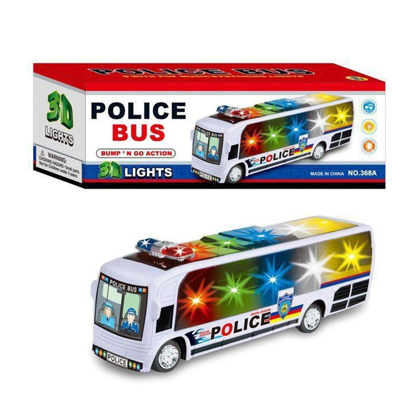 Children Electric Universal Bus 3D Colorful Light Music Campus Bus City Train GIRL'S And BOY'S Toy
