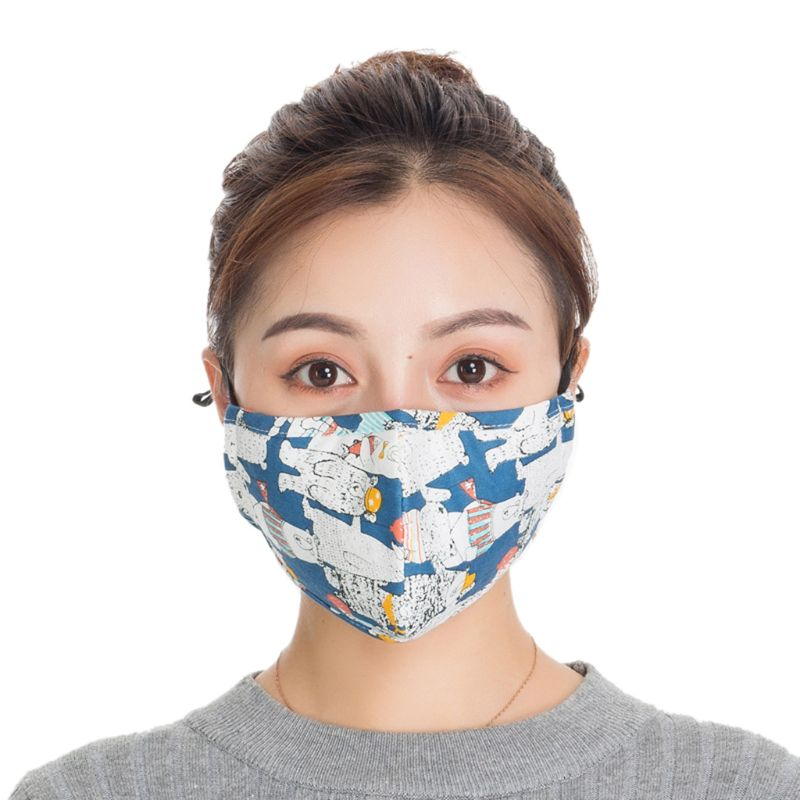 Unisex Cotton Washable Anti-fog Three-Dimensional PM2.5 Mouth Mask With Filter LX9E