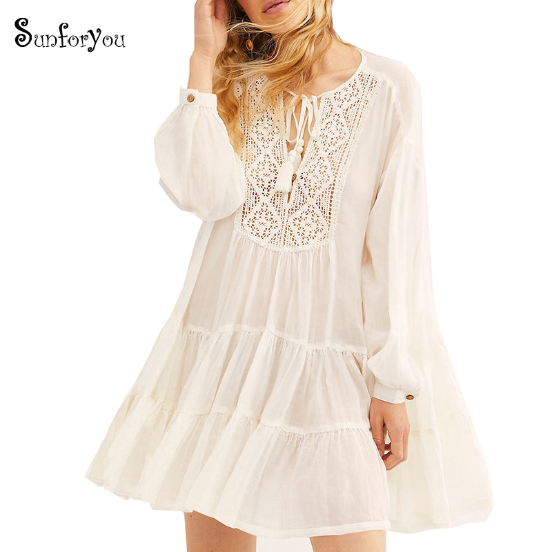Swimwear Women Cover-ups Sarong White Cotton Lace Beach Cover Up Saida De Praia Tassel Bikini Cover Up Pareo Beach Kaftan