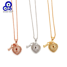 Lucky Eye Key Heart Lock Pendant Necklace Rose Gold Silver Long Chain Micro Pave Zircon Necklace Jewelry for Women Female EY6402 lucky eye key lock pendant necklace rose gold silver color chain micro pave zircon necklace jewelry gift for women female ey6401
