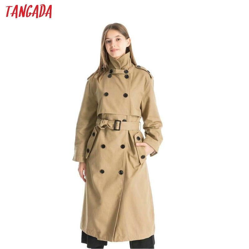 Модная женская тангада Хаки Длинный плащ элегантные пояса 2019 осень зима Офисная Женская рабочая одежда Свободная верхняя одежда QJ139