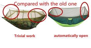 Image 5 - Автоматический разворачивающийся гамак, Сверхлегкий гамак с парашютом, для охоты, москитная сетка, двойной лифтинг, уличный гамак мебель 250x120 см