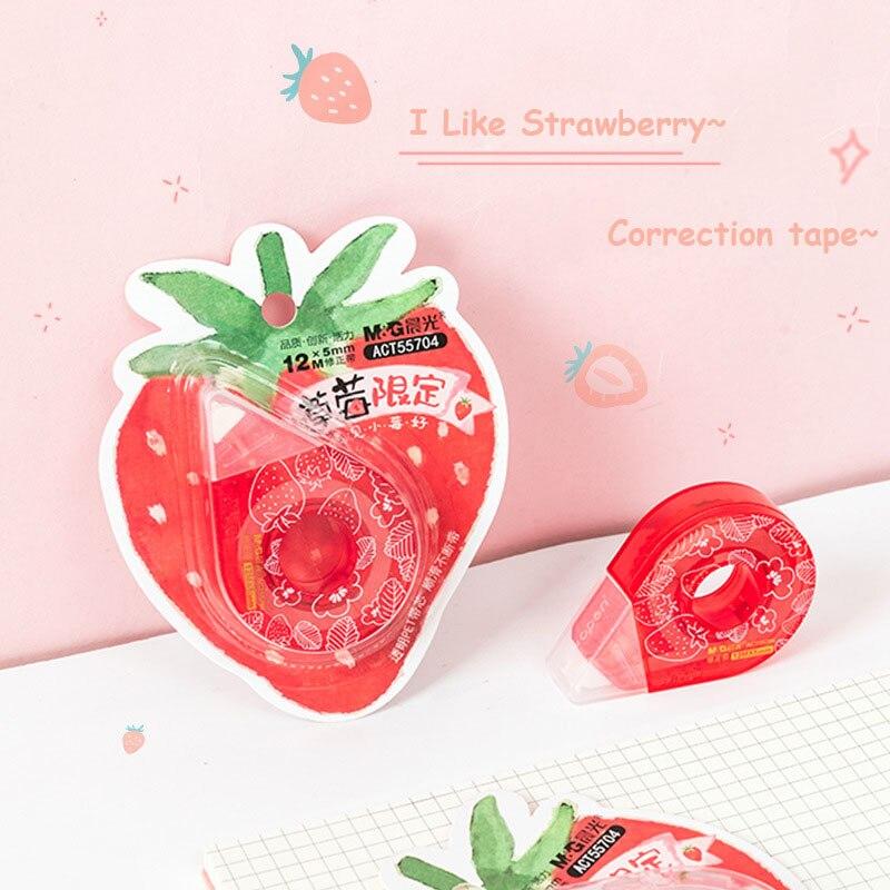 Sharkbang 1PC 12M Long Kawaii Cute Strawberry Students Correction Tape PET Transparent Children Birthday Gift School Stationery