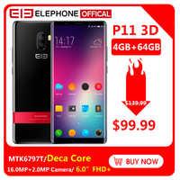 Elephone P11 3D 6.0 Cal ekran FHD + 4GB 64GB telefon komórkowy Android 8.0 MTK6797T Deca Core 16MP + 8MP aparat 3200mah 4G Smartphone