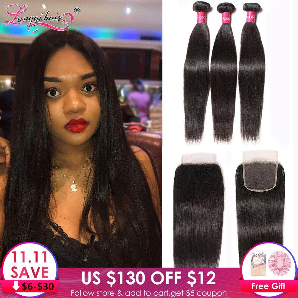 Longqi H Straight Hair Bundles With Closure Brazilian Hair Weave Bundles With Closure Remy Human Hair 3 Bundles With Closure