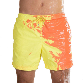 Magical Change Color Beach Shorts Summer Men Swimming Trunks Swimwear Swimsuit Color Changing Beach Shorts Quick Dry Shorts geometric print color block sport men s swimming trunks