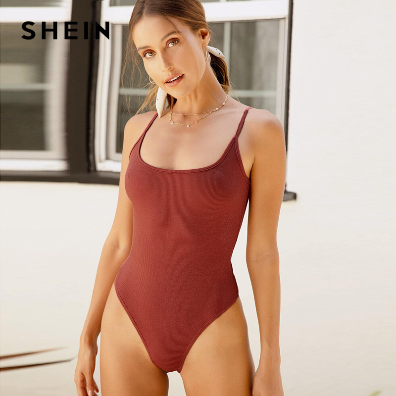 SHEIN Redwood Low Back Rib-knit Cami Bodysuit Women Summer Sleeveless Mid Waist Solid Skinny Ladies Sexy Bodysuits