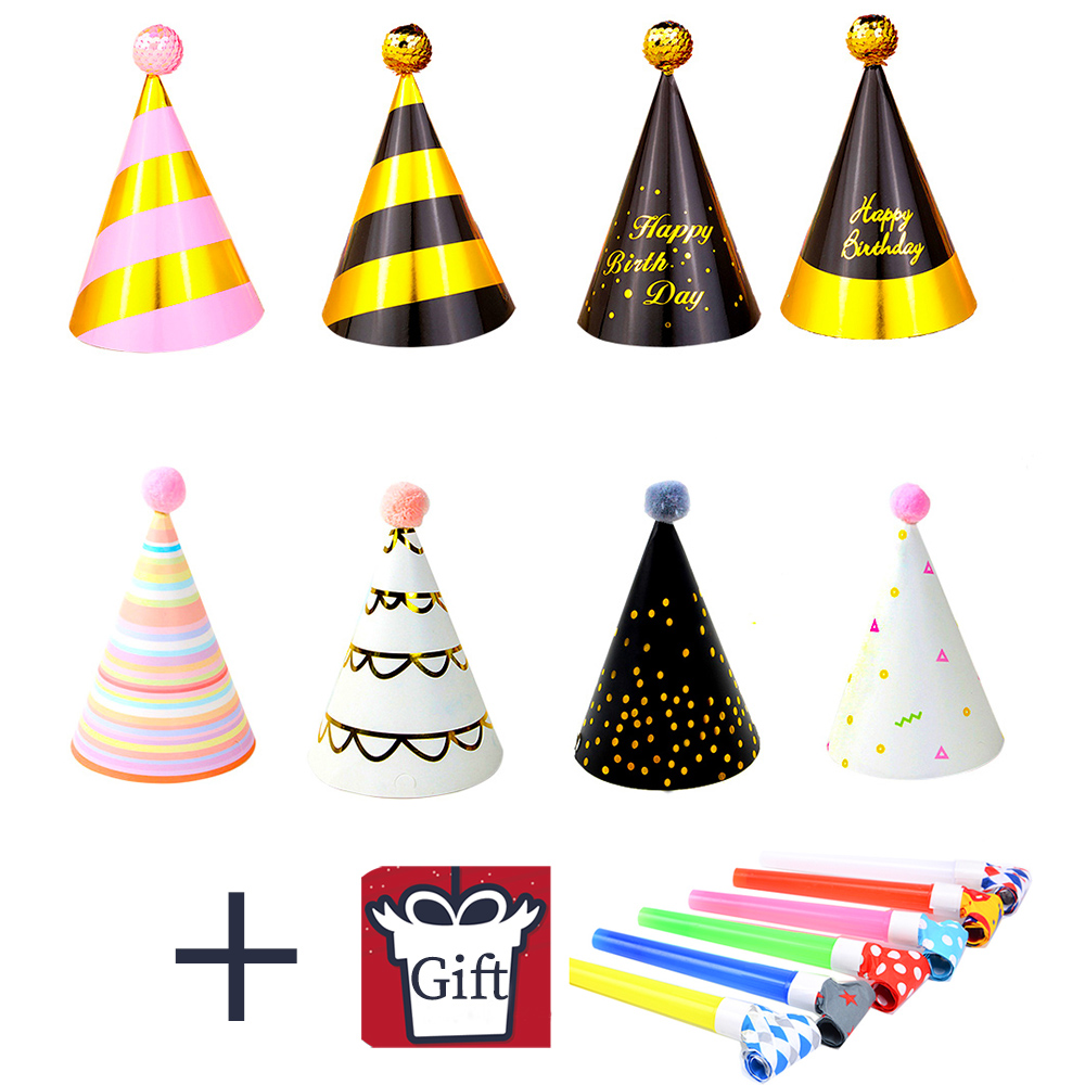 4Pcs/Set Baby Kid Birthday Paper Hat Boy Girl Party Cap Festival Birthday Party Decoration Hat Give Blow Dragon Whistle Supplies