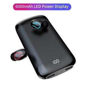 HD стерео Bluetooth наушники V5.0 спортивные водонепроницаемые наушники с двойным микрофоном и 6000 мАч Внешний аккумулятор беспроводные наушники