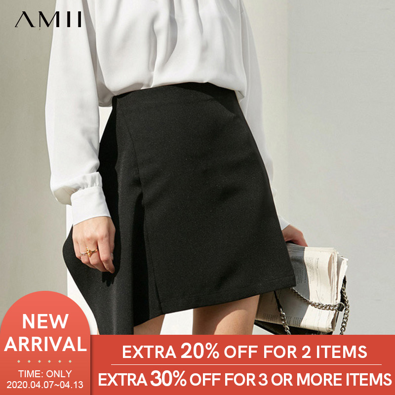 Amii Minimalist Irregular Skirt Summer Women Solid High Waist Zipper Female Elegant Straight Skirt 11970076