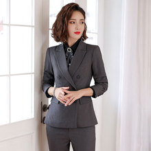 business attire Womens suit casual Business office High quality autumn new grey blazer Slim trouser Two-piece 2019