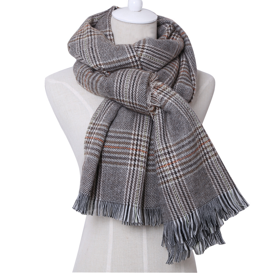 Yang Mi Celebrity Style Autumn & Winter Flash Pattern Scarf England Small Brown Plaid Extra-large Thick Shawl Warm Women's Scarf