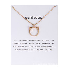 Fashion Gold-color Animal Cat Ear Chocker Necklace Pendant Charm For Women Wedding Bride Jewelry Friend Gift zakolsimple square drop shaped zirconia pendant charm necklace fashion jewelry wedding for bride gift for girlfriend fsnp2068