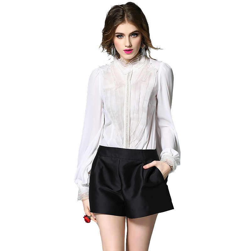 Primavera verão camisa de seda das mulheres blusa branca plissado topo de manga longa blusas e blusas blusas mujer de moda 2020 kj1783