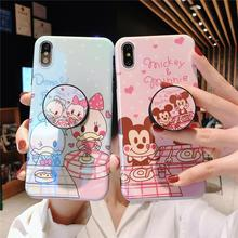 Glossy Cute Lovely Girly Cartoon Mouse Duck Couple Phone Case For iPhone 8 7 6 6s plus X 11 Pro XS Max XR i8P Holder Stand Cover