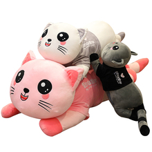 cute kawaii cat with bow plush dolls toys gift stuffed soft doll cushion sofa pillow gifts xmas gift party decor 20cm Lovely Cat that Massages Cushion Novelty Special Use Plush Toys Kawaii Pillow Stuffed Animals Baby Baby Accompany Doll Xmas Gift