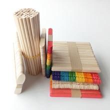 Bâtonnets à glace colorés en bois naturel, 50 pièces/ensemble bâtonnets à glace en bois naturel, artisanat artisanal pour enfants, jouets d'art, outils pour gâteaux