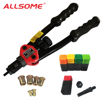 ALLSOME BT-606 RIVET NUT TOOL Hand Blind Riveter Rivet Gun with 5 Metric Mandrels 50pcs Rivnuts - discount item  30% OFF Riveter Guns