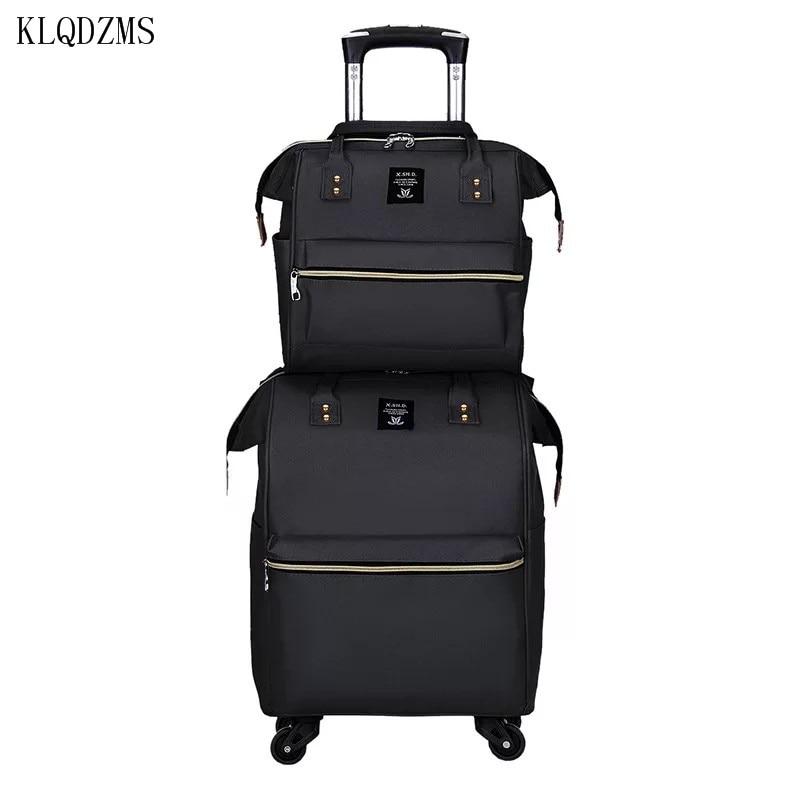 KLQDZMS Men's  Trolley Luggage Bag set nylon Multifunctional Women 's Travel Suitcase On Wheels Colorful Waterproof Suitcase