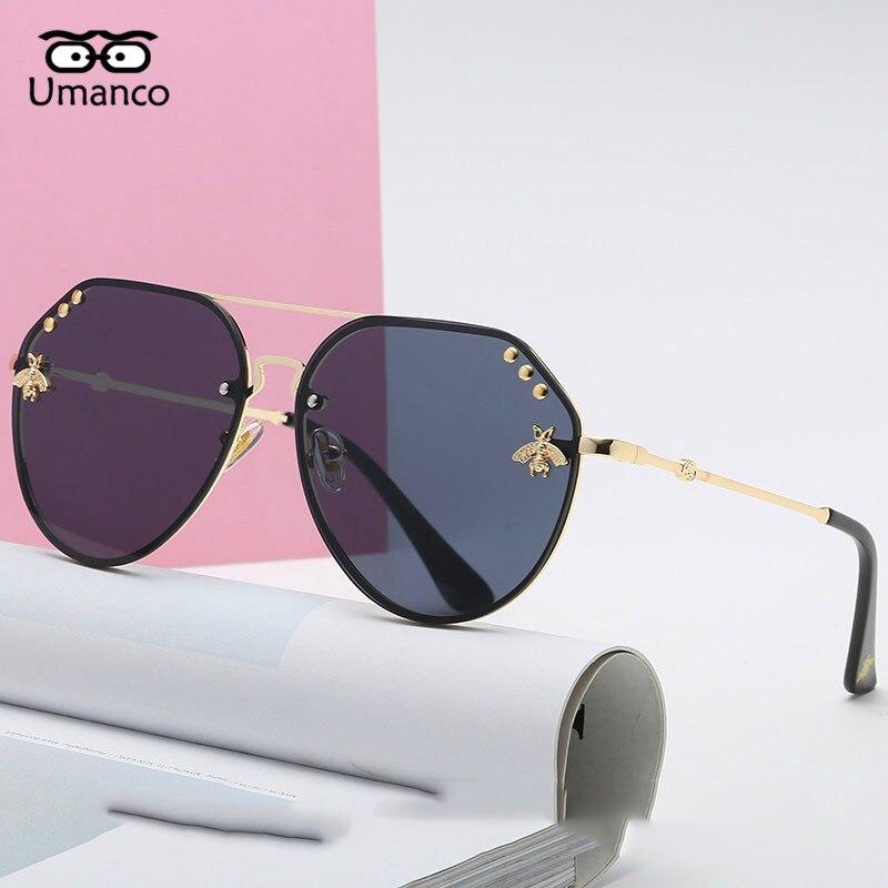 Umanco 2018 Модные женские маленькие солнцезащитные очки Украшенные пчелами красочные очки с заклепками женские мужские уличные дорожные очки UV400