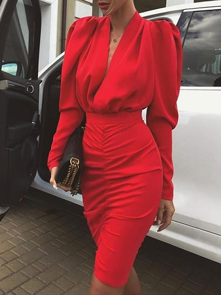 First song Ladies sexy V-neck overalls dress 2019New autumn pleated tight dress ladies long-sleeved slim club evening dress XL image