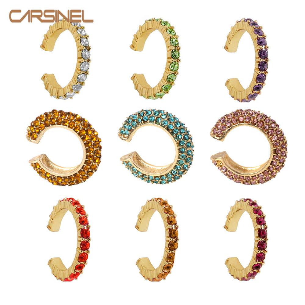 Carsinel 6 Warna Warna Emas Fashion Kecil Telinga Anting-Anting untuk Wanita Colorful Kubik Zircon Clip Anting-Anting Bohemian Tanpa Tindik Perhiasan