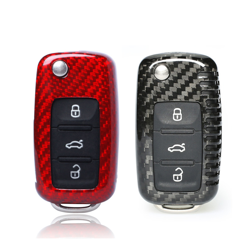 100% Carbon Fiber Car Key Case For VW Golf Bora Jetta POLO GOLF Passat Skoda Octavia A5 Fabia SEAT Ibiza Leon Car Protection