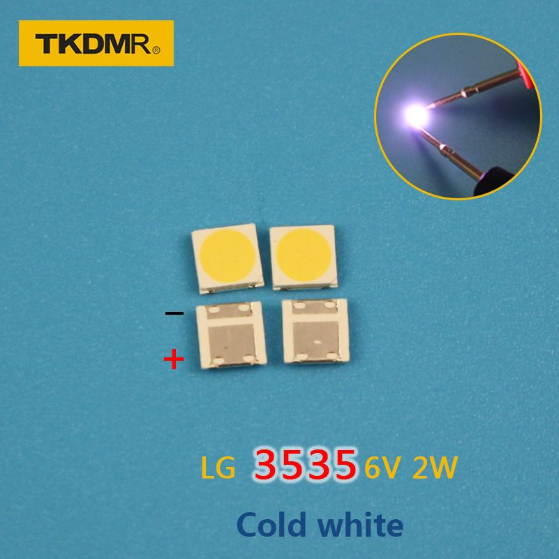TKDMR 30PCS/Lot For <font><b>LG</b></font> <font><b>SMD</b></font> <font><b>LED</b></font> 3535 6V Cold White Chip-2 2W For TV/LCD Backlight TV Application free shipping image