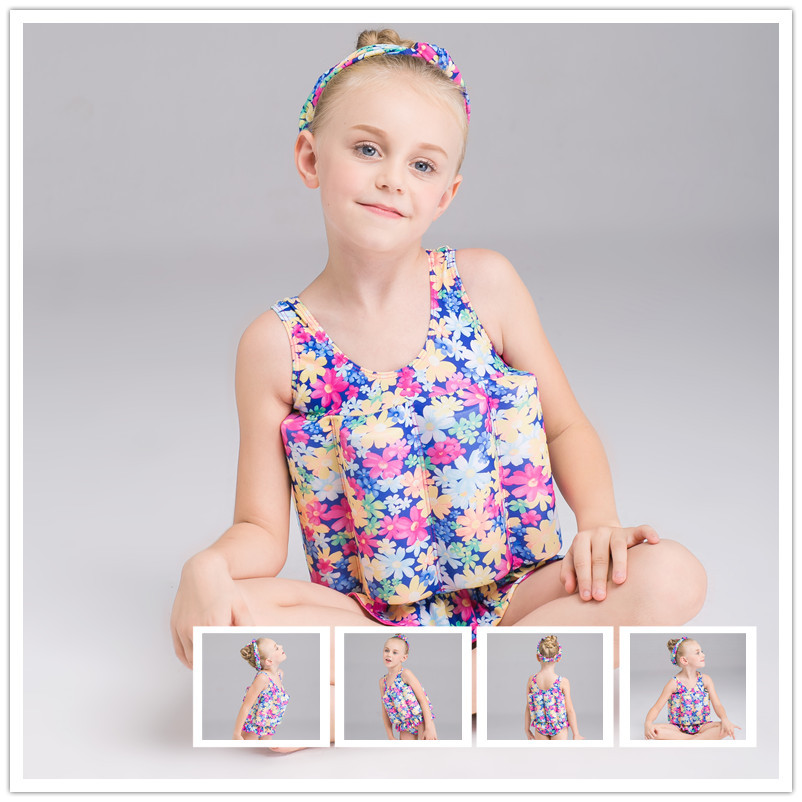 Girls Buoyancy Bathing Suit One-piece Floral-Print BABY'S Swimsuit Hipster One-piece Floating Bathing Suit New Style