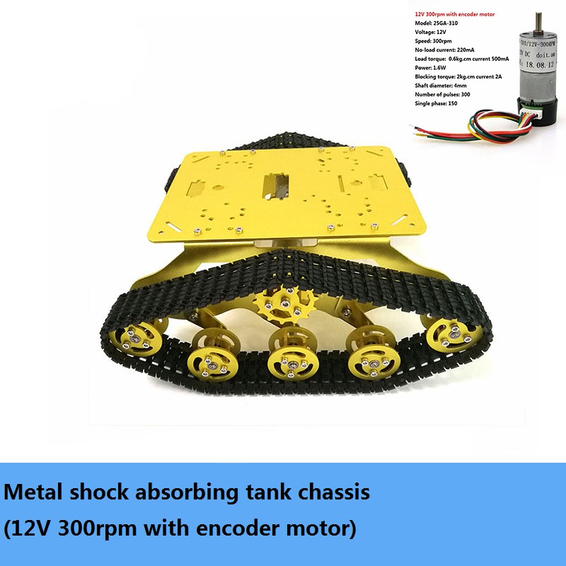 DIY TS300 Metal Shock Absorbing Tracked Tank Chassis Kit Smart Crawler Robot With High Torque Motor Speed Feedback Unassembled