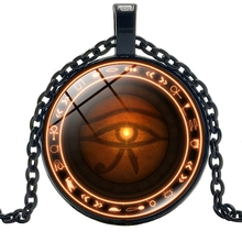 2019 New Horus Eye Time Glass Round Pendant Necklace Retro Sweater Chain Item Fashion Jewelry