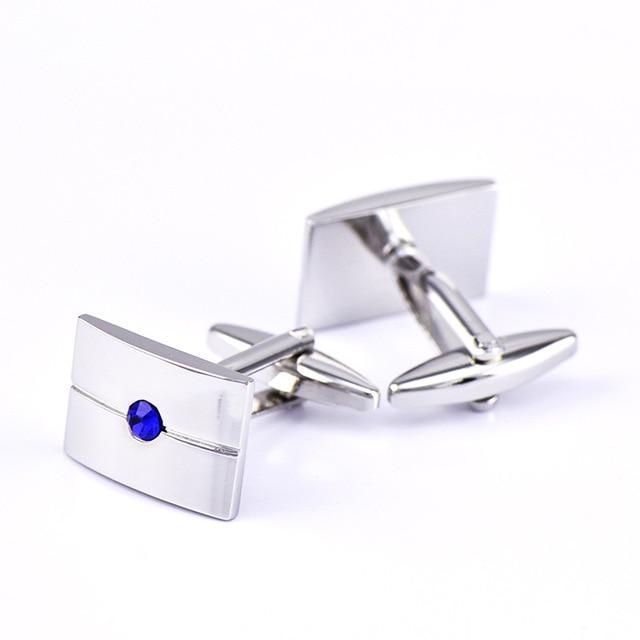 French Middle Blue Crystal Zircon Cufflinks 2