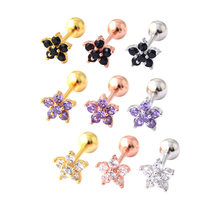 1 pcs Stainless Steel Piercing Cartilage Earring Women CZ Tragus Black Pink Stud Helix Piercing Flower Stud Earring Brincos(China)