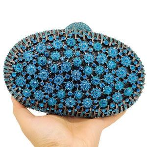 Image 2 - Boutique De FGG Pfau Blau Luxus Handtaschen Frauen Kristall Kupplung Blume Abend Taschen Hochzeit Floral Handtaschen Braut Party Geldbörse