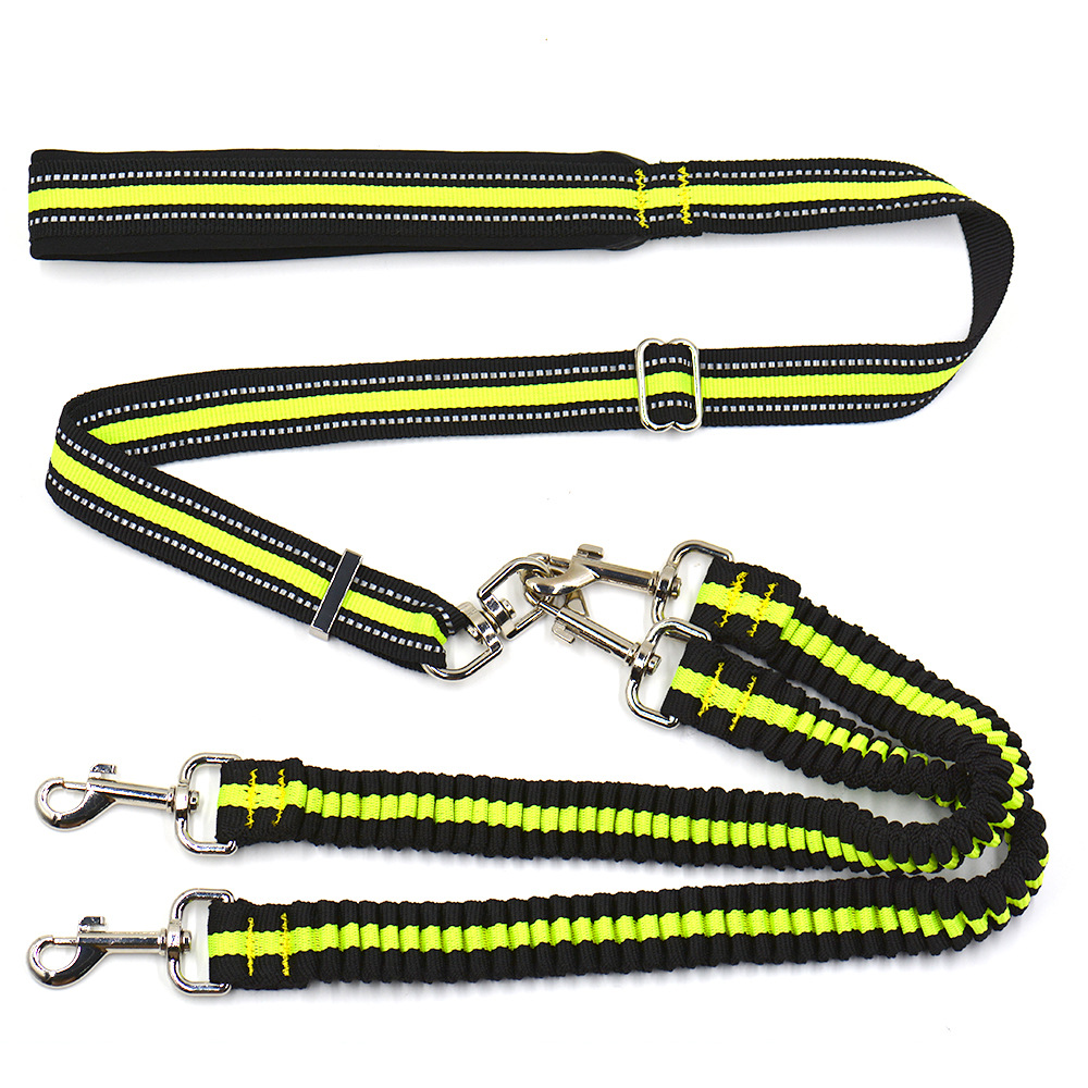 Pet Supplies Pet Adjustable Hand Holding Rope Dog Traction Double Headed One Plus Two Nylon Traction Belt