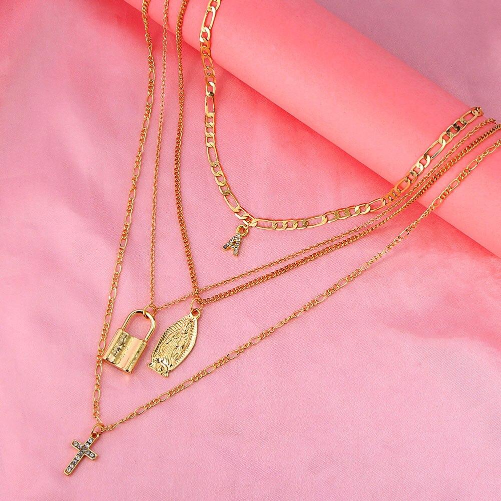 Женский Цветной многослойный кулон just feel Золотистое Ожерелье