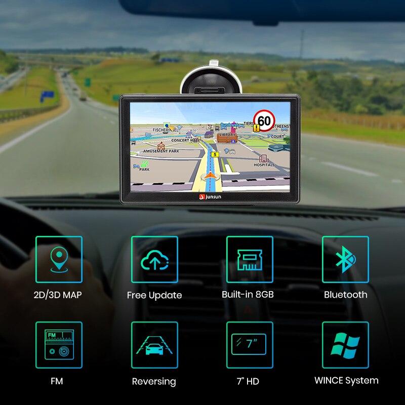 "Image 2 - Junsun D100 7"" HD Car GPS Navigation FM Bluetooth AVIN Navitel 2018 latest Europe Map Sat nav Truck gps navigators automobile-in Vehicle GPS from Automobiles & Motorcycles"