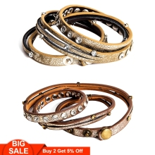 Fever&Free Multilayer Vintage Retro Bracelets For Men Women Adjustable Wrap Leather Bracelet Wristband Bangles Jewelry Wholesale
