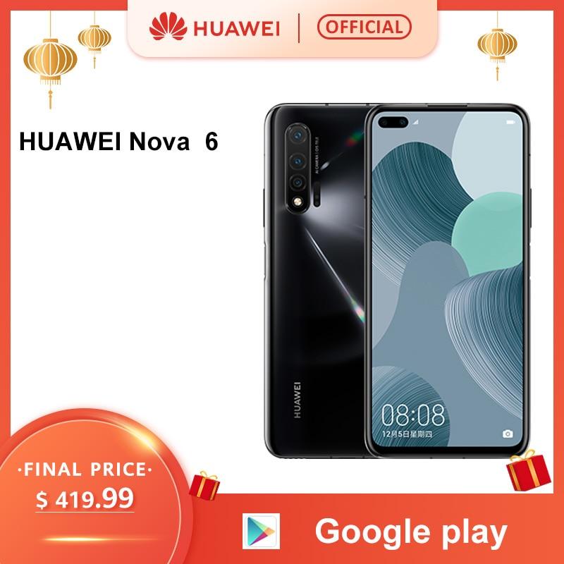 Original Huawei Nova 6 Smartphone 40MP AI Kameras Handy 32MP Vordere Kamera 6,57 ''Full Screen Kirin 990 Android 10 4G Version