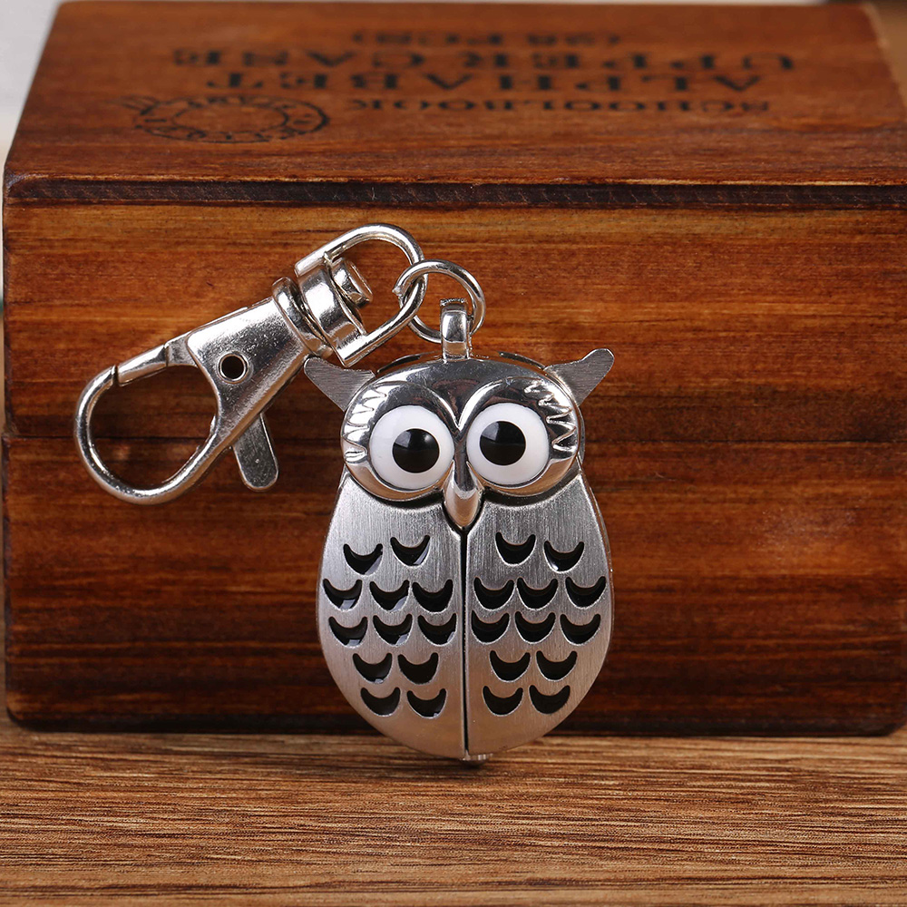 6105Owl Charm Unisex Fashion Roman Number Quartz Pocket Keychain Watch Women Man Necklace Pendant With Chain Gifts