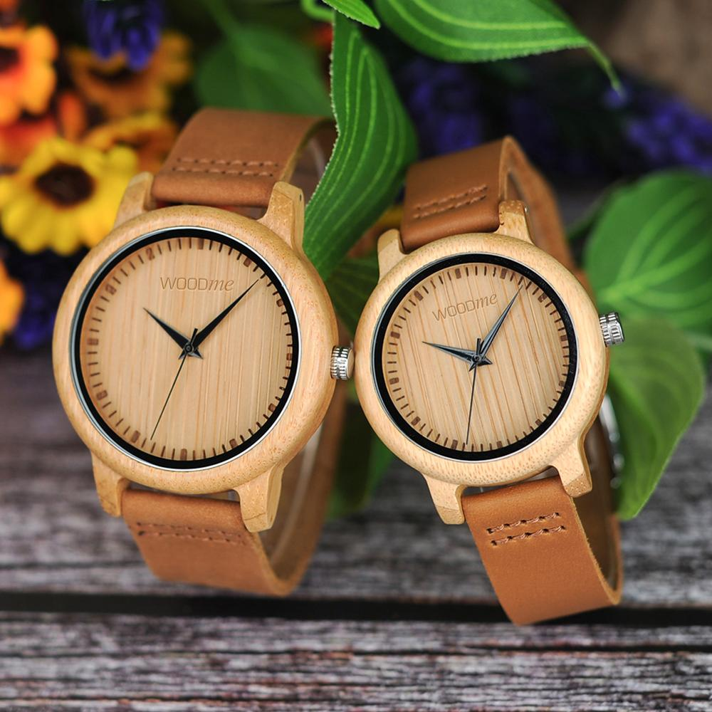 Lovers Watches Couple Watch Women Relogio Feminino Bamboo Wood Men Watch Leather Band Handmade Quartz Wristwatch Erkek Kol Saati