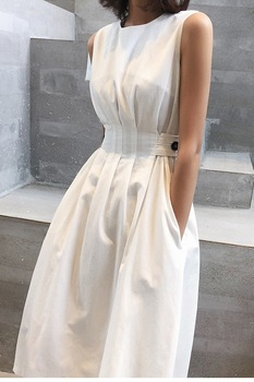 2020 Autumn Women Solid White Black Fashion Elegant Casual Party Dress O neck Sleeveless Tank Sundress Female Vestido