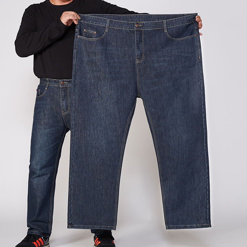 No Bombs Large Size Straight-Cut Jeans Men's Plus-sized Pants 32-52 Code Big Size Men's JEANS Plus-sized