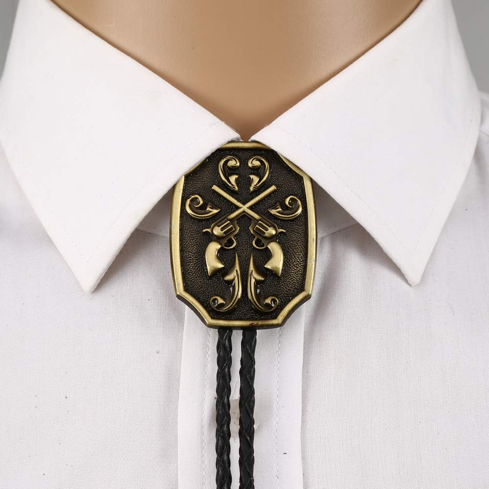 Gouble Gun  Copper Bolo Tie For Man Indian Cowboy Western Cowgirl Leather Rope Zinc Alloy Necktie