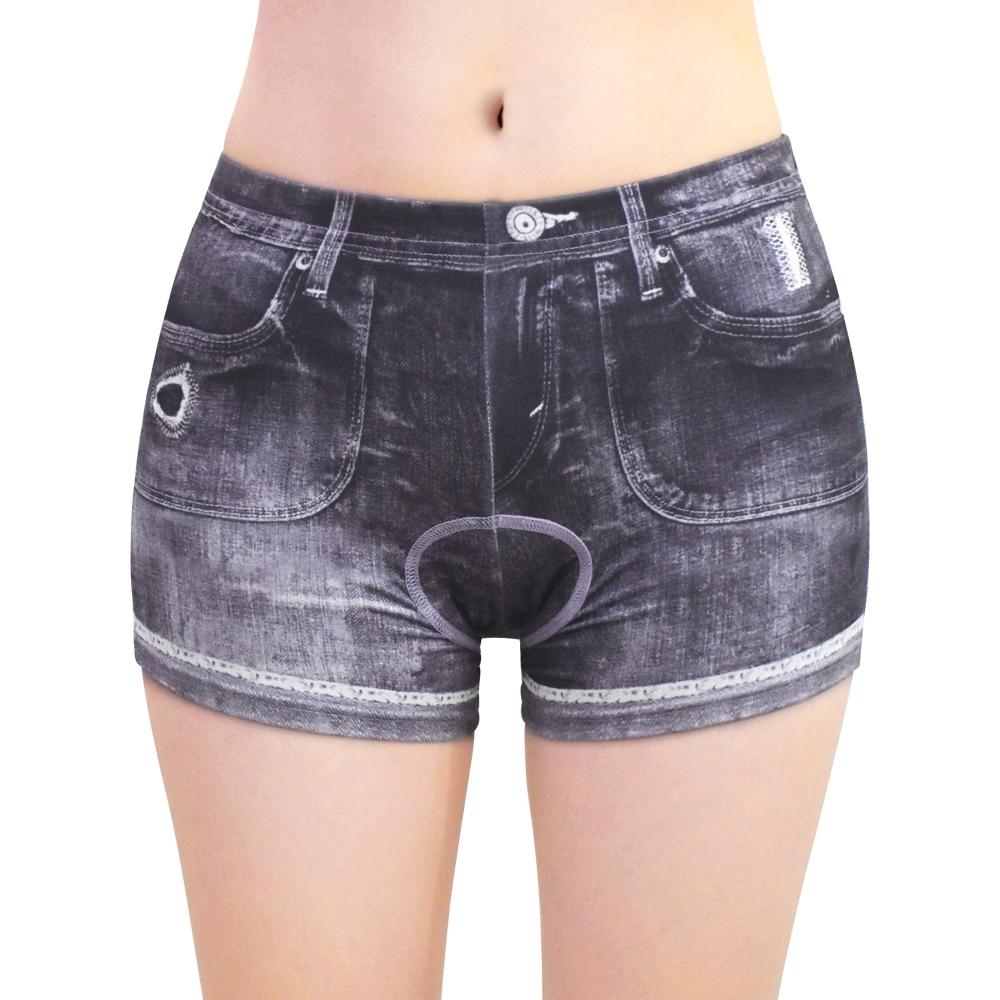 WOSAWE Women Cycling Shorts 3D GEL Padded Summer Bike Shorts Cycling Breathable Underwear MTB Shorts Simulation Denim Shorts