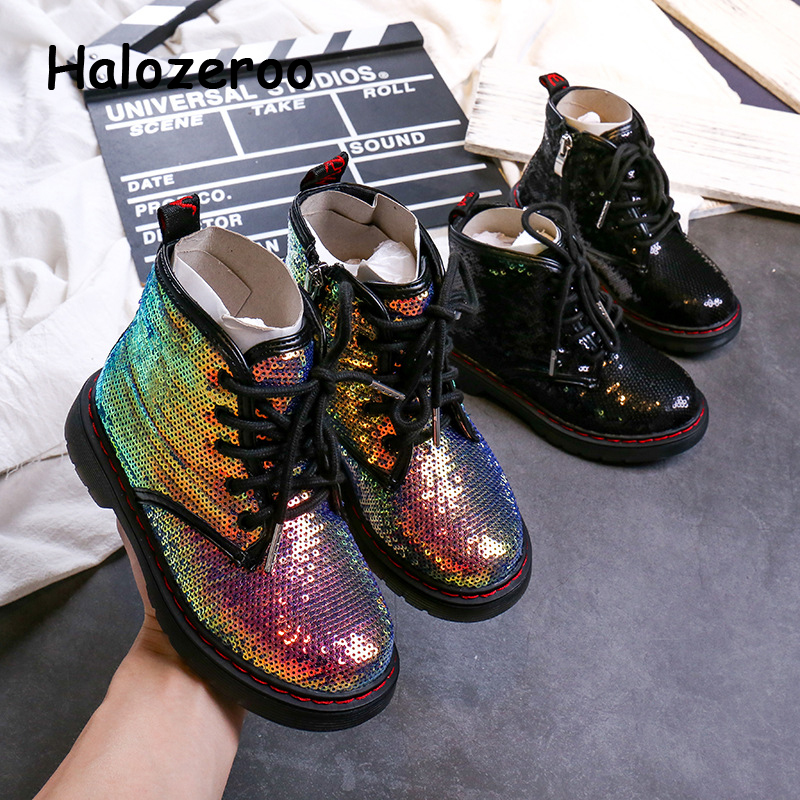 2019 New Autumn Kids Martin Boots Baby Girls Sequin Shoes Children Glitter Ankle Boots Boys Black Brand Boots Fashion Soft Shoes